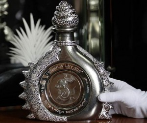 The bottle, made with 4,100 brilliant-cut diamonds and 2.380 kg of pure platinum, is