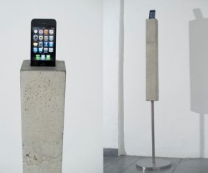 Constructed out of solid concrete, this iPhone & iPod docking tower is unlike any oth...
