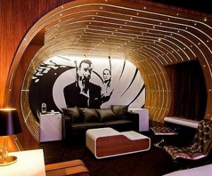 One of 28 themed rooms in the hotel, it features Bond inspired memorabilia and furnit...