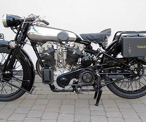 A 1929 Brough Superior, a legendary bike which is actually being resurrected for the