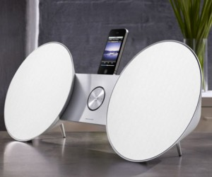 The new iPad BeoSound 8 Speaker Dock cradles your Apple gadgets �in between two large...