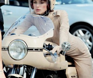 Spotted in France, Keira Knightley looks stunning this nude Chanel motorcycle catsuit...