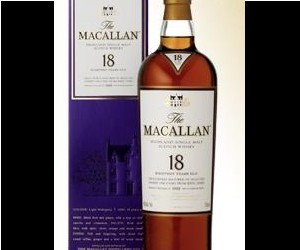 The distillery-bottled Macallan 18 Year comes in an impressive, almost glittering pur...