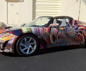 Typically the domain of BMW, the Gartel art car uses an electric Tesla Roadster as it...