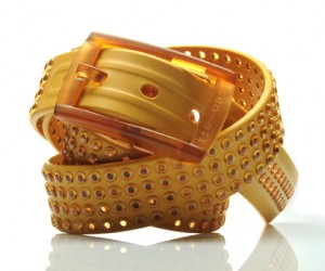 Tie-ups Glam Pins is the first studded belt made of 100% recyclable plastics, an inno...